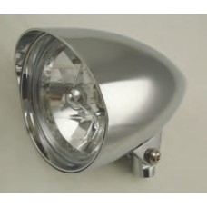 """8-21 Chromed Aluminum Headlights with or without Tri Bar - 5-3/4"""" Diameter, 9-1/2"""" length (Long Body)"""