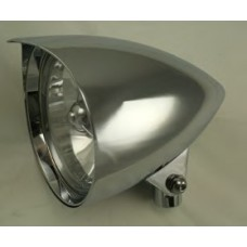 """8-333 Chromed Aluminum Headlights with or without Tri Bar - 5-3/4"""" Diameter, 9-1/2"""" length (Long Body)"""