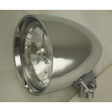 """8-335 Chromed Aluminum Headlights with or without Tri Bar - 5-3/4"""" Diameter, 8-1/2"""" length (Short Body)"""